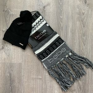 NWT BEBE Rhinestone Scarf and Hat Set